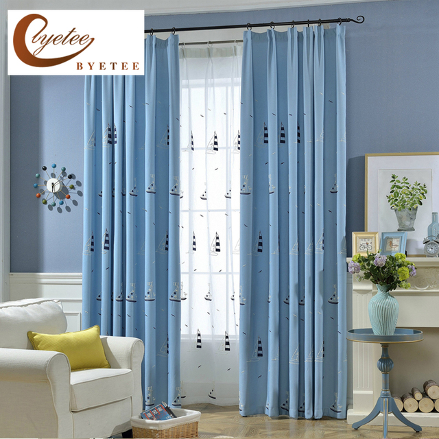 [byetee] Embroidery Kitchen Curtains Drapes Fabric For Children Bedroom  Living Kids Room Window Embroidered