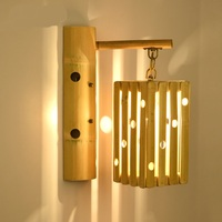 The modern hotel bedroom bedside lamp wall lamp wood personalized Southeast Asian Restaurant coffee aisle LED bamboo lam ZH zb39