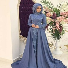 2019 Arabic Muslim Evening Dresses High Neck Lace Appliques  Formal Party Gowns Prom Dress Custom
