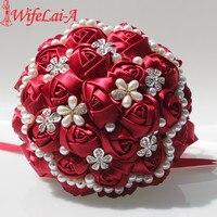 WifeLai-A 1Piece Popular Wine Red Bride Holding Bouquets Flowers Adorn Pearls Diamond Silk Ribbon Rose Wedding Bouquet W225