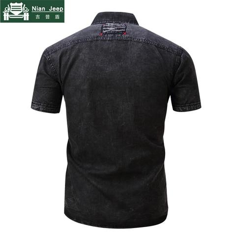 2018 Fashion Brand New Denim Shirt Men Short Sleeve Mens Shirts Military Style Male High Quality Streetwear Shirts Size S-2XL Karachi