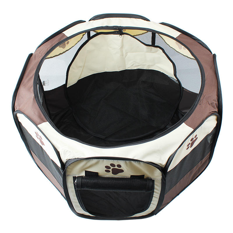 Hellomoon Two Sizes Brown Octagonal Foldable Oxford Blank Fence Large Space Pet Cage for Dog in Houses Kennels Pens from Home Garden