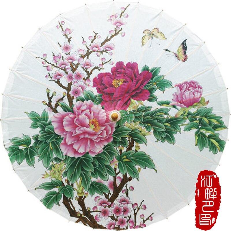 Два Бабочка любовник пион масляной Бумага зонтик большой розовый цветок Бумага зеленый зонтик завод Книги по искусству выставки Бумага зон...