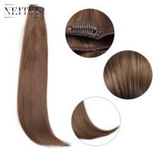 цены Neitsi 14'' 3Pcs/Set 75g Clip in on Synthetic Hair Extensions Straight Hairpieces Light Blonde 550#
