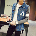 S-5XL Mens Fall Jacket Denim Patchwork Knitted Sleeve JC28  Bomber Jacket Men Veste Homme Chaquetas Hombre 2016