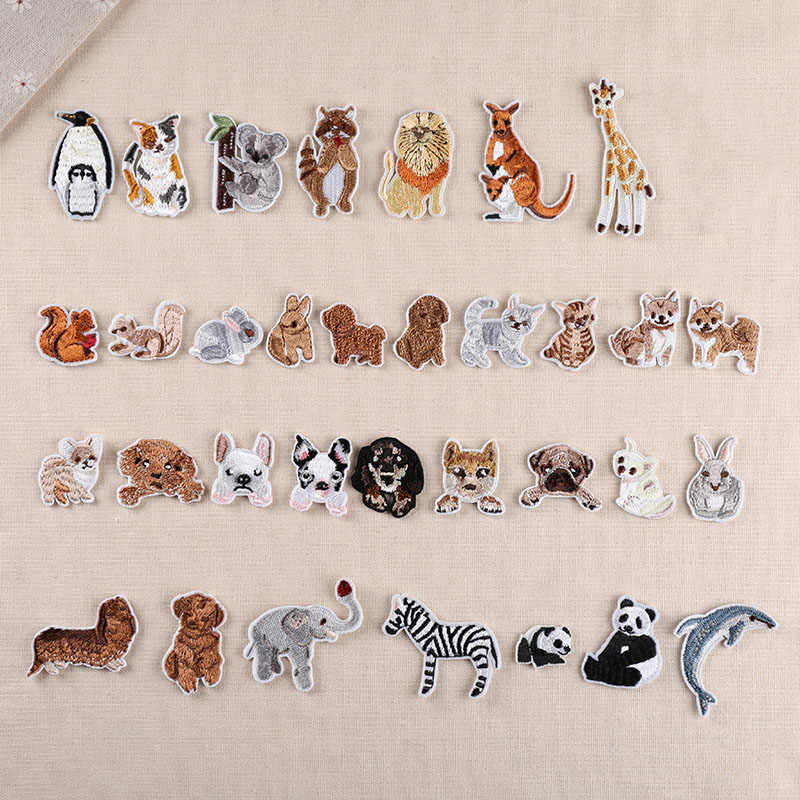 1Pcs Animal Heat Transfers Iron On Sew On Patches for Clothing DIY Clothes Stickers Decorative Applique Embroidery Patch 47224