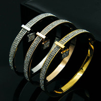 Real Gold Plated Full Crystal Lock Bracelets Bangles Pulseiras Fashion Stainless Steel Cz Diamond Bracelet Women