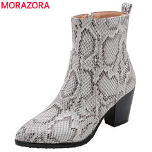 MORAZORA 2020 plus size 46 ankle boots women snake pointed toe high heels party dress shoes autumn winter Short boots female