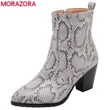 Morazora 2020 Plus Size 46 Enkellaars Vrouwen Slang Spitse Neus Hoge Hakken Party Dress Schoenen Herfst Winter Korte Laarzen vrouwelijke