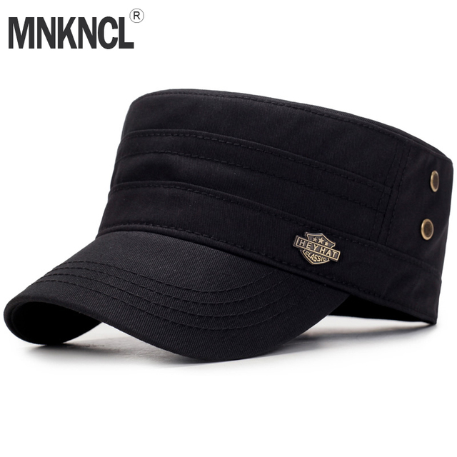 43e7a2457ad MNKNCL 2018 New Men s Cotton Flat Top Baseball Cap Twill Army Millitary Corps  Hat Cap Visor