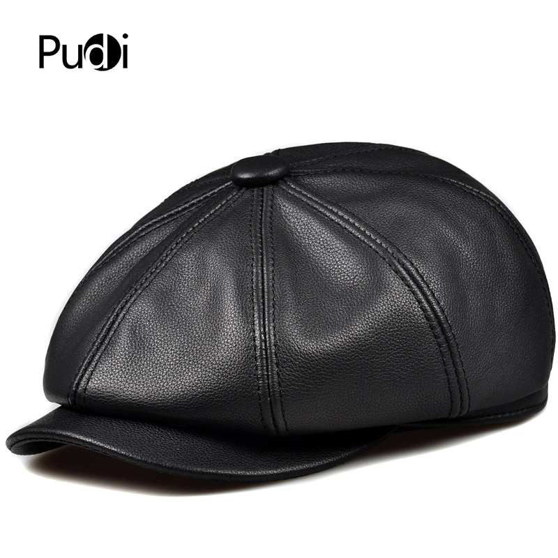 Genuine Leather Flat Cap Classic Newsboy Cabbie Gatsby Hunting Peaked Hat WHITE