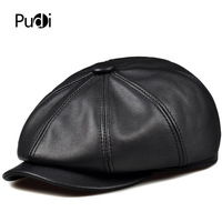 Pudi man genuine leather newsboy cap women winter baseball caps hunting gatsby 2017 brand new Painter hats black color HL193