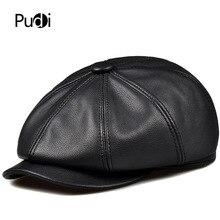 Pudi man genuine leather newsboy cap women winter baseball caps hunting gatsby 2017 brand new Painter hats black color  HL193 цена