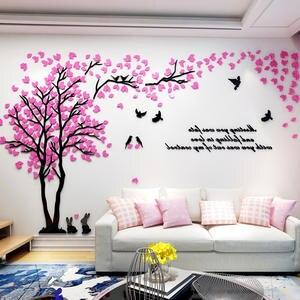 Wall-Sticker Decoration Tv-Background-Wallpaper Rabbit-Decals Acrylic Living-Room Love-Tree