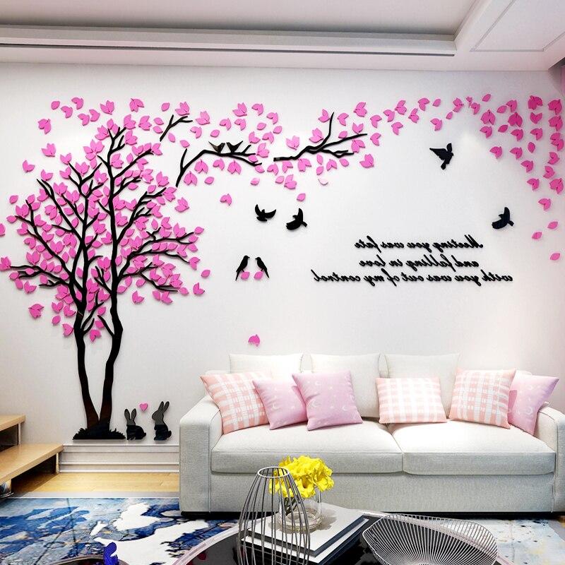 Adesivo de Parede Árvore com Pássaro Decalques para Sala de Estar Decoração de Parede de Acrílico Adesivos de Parede Papel de Parede 3d Amor Coelho tv Fundo