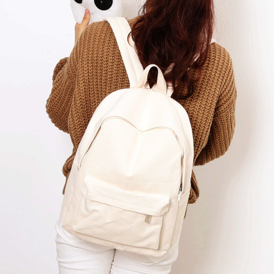 Image 2 - Simple Classic Designe Canvas Women Backpack School Student Book Bag Leisure Travel Young-in Backpacks from Luggage & Bags