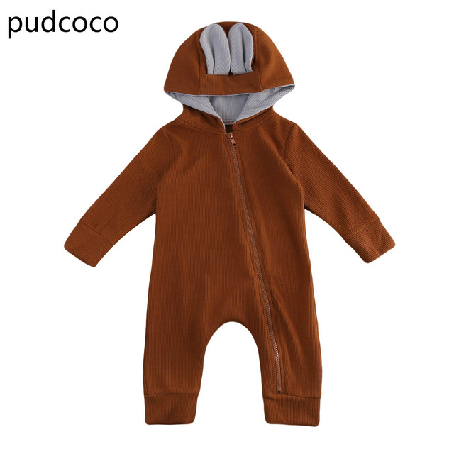 75b0033f7 Brown Baby Boy Girls Rompers Infant Kids 3D Ear Clothes Romper ...