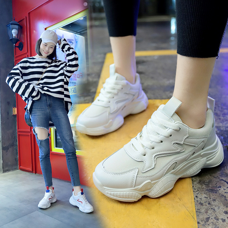 2019 Spring New Leather Womens Platform Chunky Sneakers Fashion Women Flat Thick Sole Running Sports Shoes Woman Dad Footwear