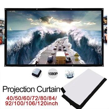 Amzdeal doblado Flexible 16:9 pantalla de proyección tela juego al aire libre Portable ligero Home Theater proyector de vídeo pantallas