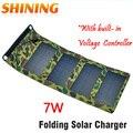 Portable plegable acampar panel solar plegable 7 w 5 v usb powered cargador de batería de la energía del teléfono móvil de la célula de carga bankcharger