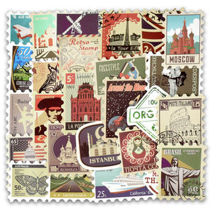 Image 2 - 50pcs Retro Verschiedenen Ländern Briefmarken Vinyl Aufkleber DIY Zu Laptop Haut Kühlschrank Gepäck Aufkleber Für Macbook Air/Asus/Xiaomi/HP