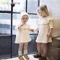2 Piece/0-5Years/Primavera Outono Bebê Se Adapte Às Meninas Da Criança Vestidos + Chapéus Infantil Malha Vestido de Roupa Dos Miúdos Crianças Conjuntos de roupas BC1072