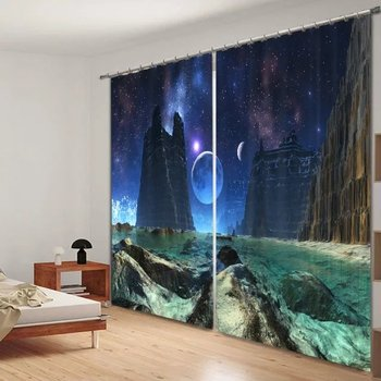 Luxury 3D Outer Space Printed  Window Curtains For  Bedding room Living room Wall Home Tapestry Decorative Drapes Cortinas