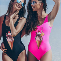 2018 Sexy One Piece Swimwear New Ice Cream Digital Print One Piece Bath Suit Bodysuit Backless