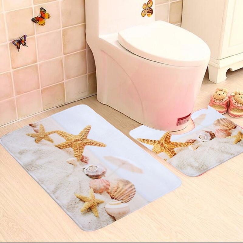2 Piece Bathroom Star fish And Beach Shells Bath Mat Contour Slip Carpet Pedestal Rug Non