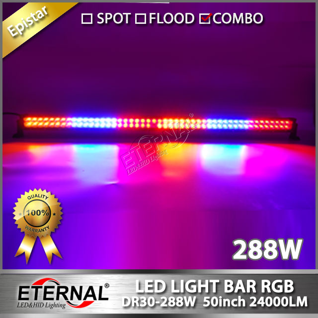 wireless remote RGB 288W LED light bar 50in off road driving headlight ATV UTV powersports 4x4 buggy racing high power work lamp