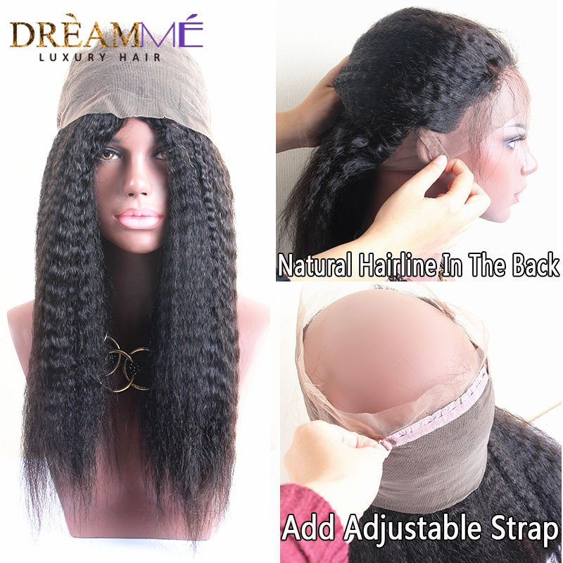 Human Hair Weaves Dreamme Hair Pre Plucked Kinky Straight Hair 360 Lace Frontal Closure Brazilian Remy Hair Frontal With Baby Hair