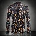 Европа и америка стиль мода птицы печати бархат блейзер мужчин slim fit мужчины blazer дизайн костюм homme мужская одежда XF40-11