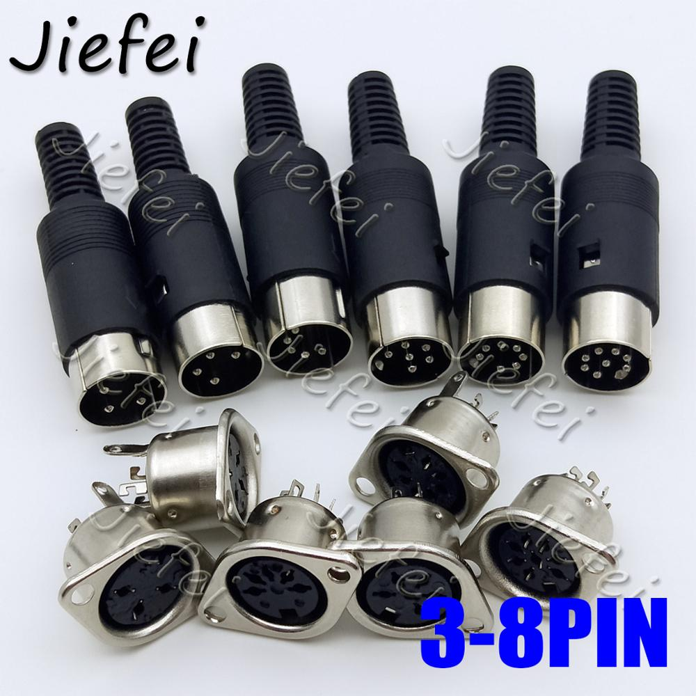 10set Male Plug Female socket 3pin 4pin 5pin 6pin <font><b>7pin</b></font> 8pin <font><b>DIN</b></font> Inline Audio AV Connector DIY Parts for Chassis Cable Mount image