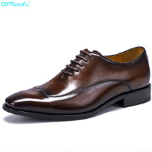 QYFCIOUFU Fashion Designer Mens Business Shoes Luxury Dress Genuine Leather Quality Cow Lace Up Formal Party Shoe