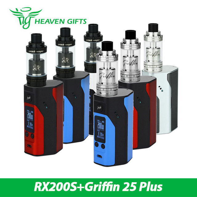 Original 200 w wismec rx200s vaping w/geekvape griffin 25 más rta tanque 5 ml superior/inferior del flujo de aire vs