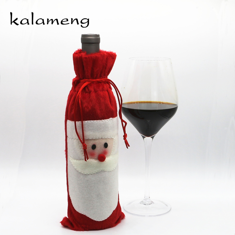 Christmas Eve Red Wine Bottle Cover Party Santa Claus ...