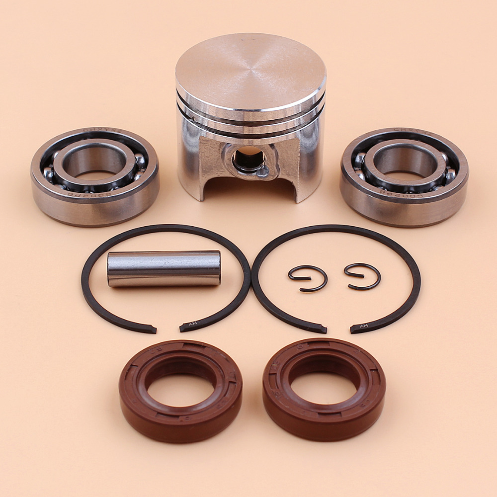 37mm Piston Ping Rings Kit W/ Crank Bearing Oil Seal Kit For STIIHL 017 MS170 MS 170 Chainsaw Parts - 8mm Pin