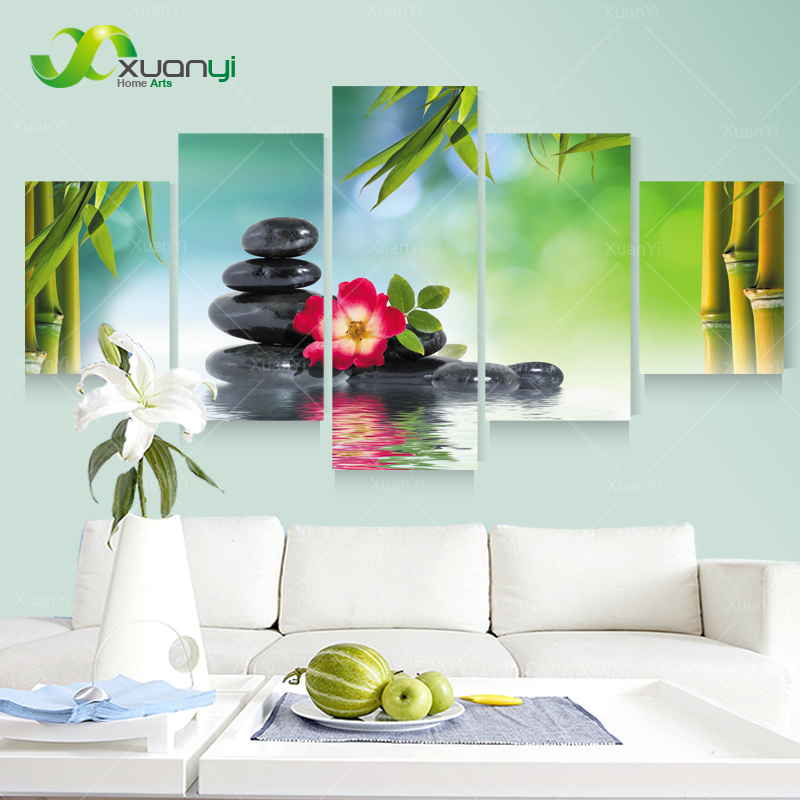 5 Panel Wall Art Canvas Bamboo Stone Landscape Oil Painting Wall Decor Picture For Living Room Canvas Print Unframed PR1180
