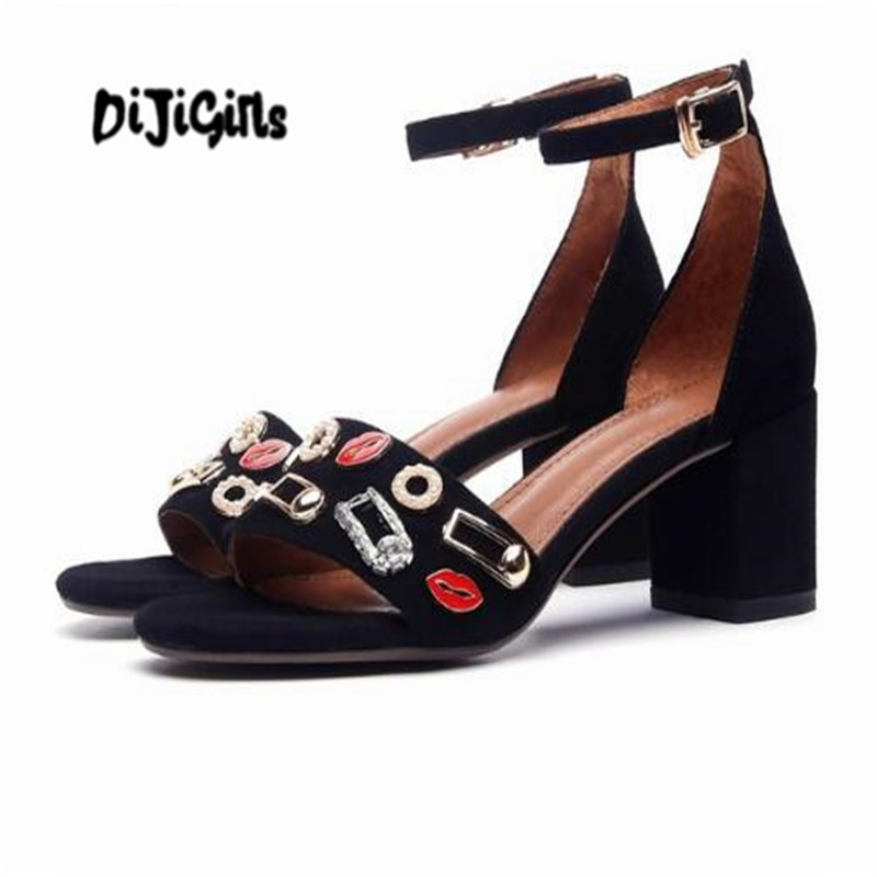DIJIGIRLS new sheep suede ankle straps peep toe 6cm high heels women sandals simple style metal decorative fasteners shoes