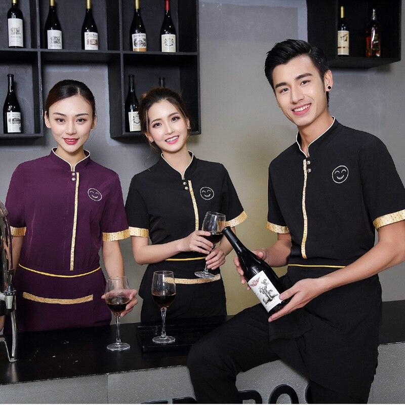 Summer Waiter Uniforms Western Restaurant Waiter Work Wear Short Sleeved Overalls Female Star Hotel Restaurant Work Clothes