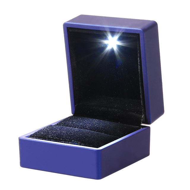 Led Lighted Jewelry Gift Box Lighting Ring Box Holder Case With