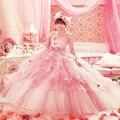 Nova Moda Vestidos Quinceanera 2017 Fora Do Ombro vestido de Baile Em Camadas Flores Doce 16 Vestidos de Debutante Vestido Para 15 Anos