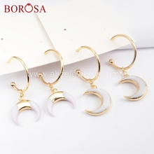 BOROSA 5Pairs Gold Color Natural White Shell Horn/Moon Shape With Round R-ing Dangle Earrings Jewelry for Women Girls G1677