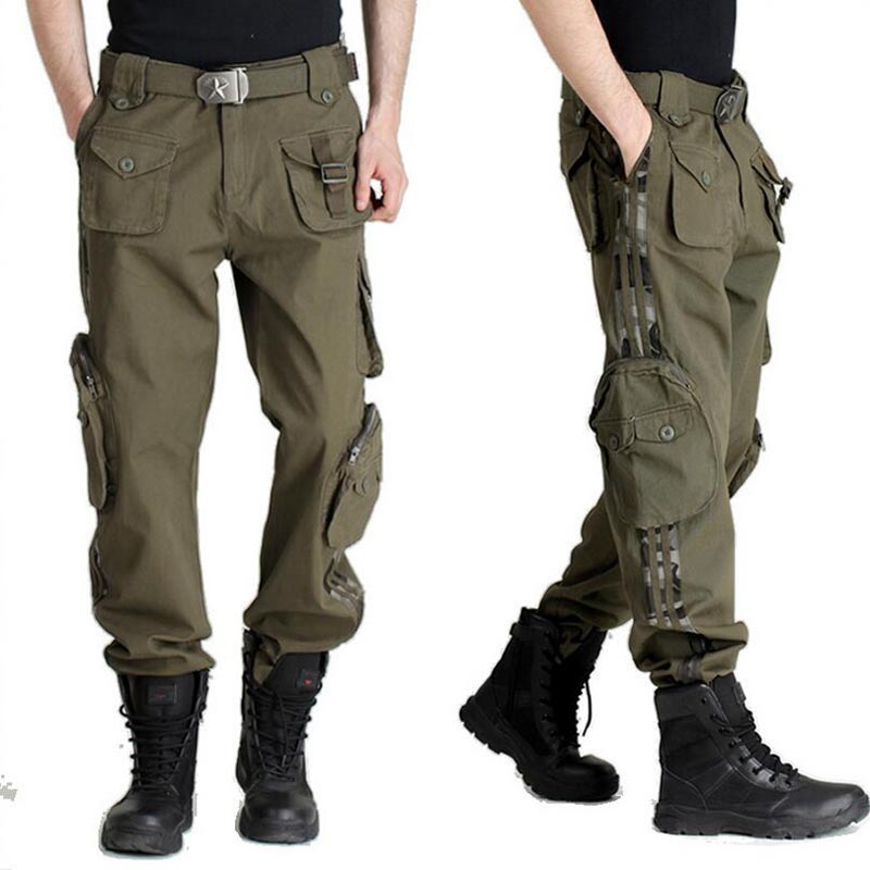 Fashion Autumn-Summer Denim Army Green Camouflage Loose Pants Multi-Pocket Jeans Baggy Cargo Pants Large Size For Men