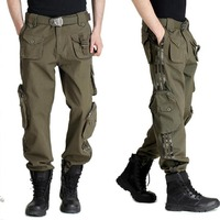 Fashion Autumn Summer Denim Army Green Camouflage Loose Pants Multi Pocket Jeans Baggy Cargo Pants Large Size For Men