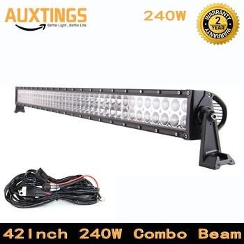 waterproof 42 inch 240w 4x4 offroad led light bar double rows combo beam 12v car driving light with wiring harness for truck
