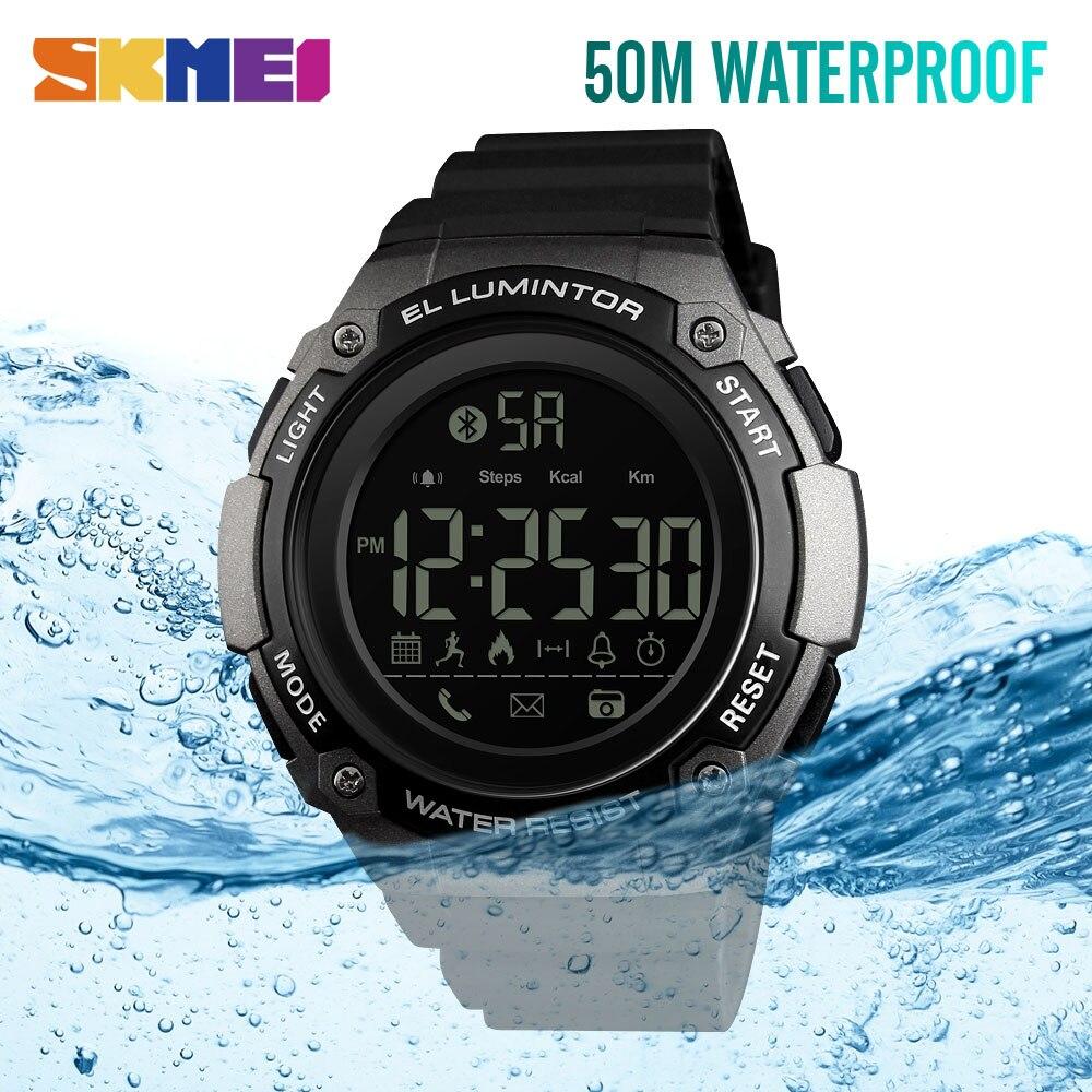 SKMEI smart sport watch waterproof bluetooth connect sports mileage calorie calculation call alert camera social reminder