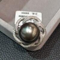 Около 15 мм натуральный большой черный жемчуг кольцо Таити 18 К белого золота с настоящий бриллиант настоящая жемчужина кольцо цветок изыска