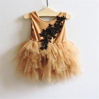 新しいファッション子供女の子花メッシュチュチュドレス王女ヴィンテージフリルベストパーティードレス5ピース/ロット卸