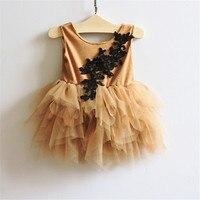 Neue Mode Kinder Mädchen Blume Mesh Tutu Kleid Prinzessin Vintage Rüschen Weste Party Kleid 5 teile/los Großhandel
